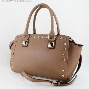 Rockstud Taupe Leather Satchel