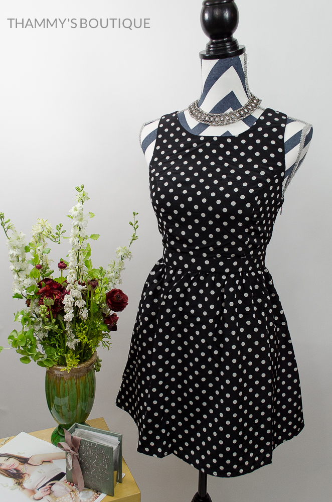 Silk Feel Women Girls Black Color Criss Cross Polka Dot Reversible Dress